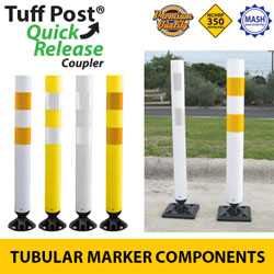 Premium Tuff Post (Open Top) Tubular Markers with Coupler for Quick Release Base