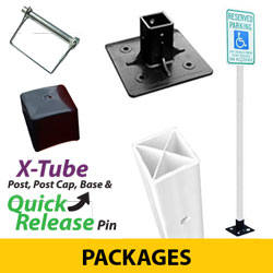 X Tube Flexible Sign Posts, Post Cap, Surface Mount Base and Quick Release Pin